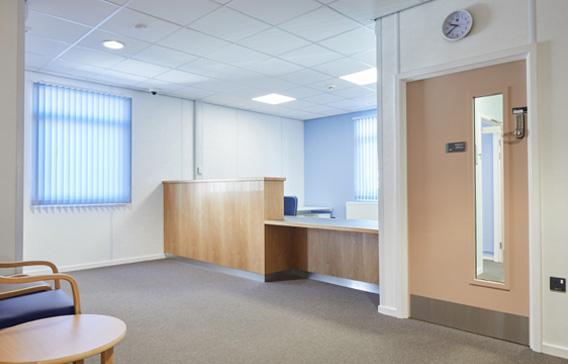 Interior health modular building reception area